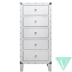 Beautiful white with silver glitter 5 drawer tallboy