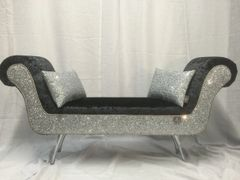 Stunning double ended chaise Black crushed velvet with silver glitter