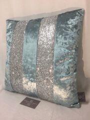Stunning Ava Cambridge blue velvet with silver glitter scatter cushion