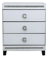 Beautiful Cameo White Mirror 3 Drawer Bedside Cabinet