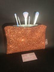 Stunning Copper glitter makeup bag - velvet lined