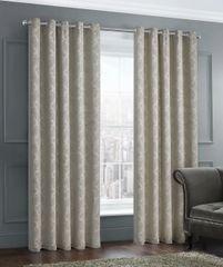 stunning damask natural eyelet ready made curtains - size options