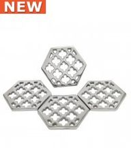 set of 4 Art deco silver nickel coasters