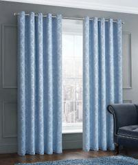 stunning damask blue eyelet ready made curtains - size options