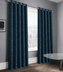 stunning stars navy eyelet ready made curtains - size options