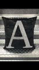 Beautiful Glitter Alphabet letter cushion range - colour options