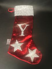 Stunning glitter & velvet personalise christmas stocking - colour options
