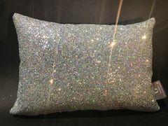 Stunning Glitter Claira Silver disco scatter cushion