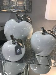White apple with silver detail ornament - size options