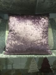 Beautiful plain crushed velvet Amethyst scatter cushion