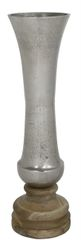 Large rustic nickel and wood vase - 53cm tall