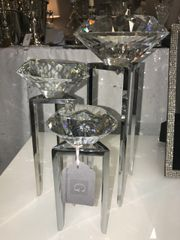Statement cut glass diamond on stand - size options