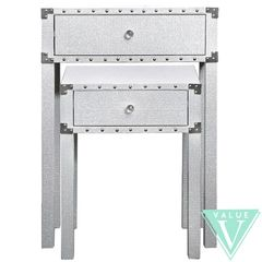 Beautiful White with silver glitter nest of 2 tables