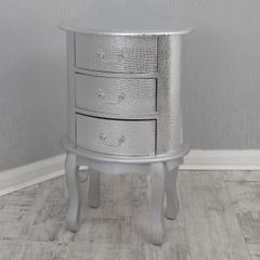 Silver Croc 3 drawer bedside table with silver handle detail