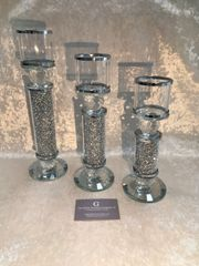 Beautiful crystals & mirror candle holders - size options