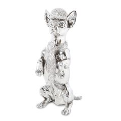 Silver Electroplated Chihuahua dog statue