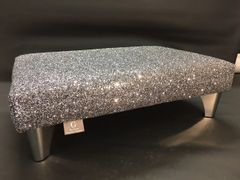 Luxury Grey Sparkle Glitter Footstool Medium