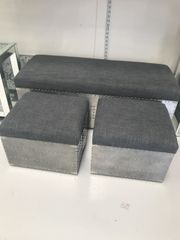 Set of 3 ottoman storage stools grey linen or silver crushed velvet options