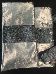 Beautiful gunmetal grey crushed velvet with gunmetal grey glitter bed runner
