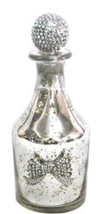 Sparkle antique silver collection - glass bottle with bow detail