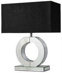 LIMITED STOCK Silver Mirror Small 'O' Lamp With Black Snakeskin Shade