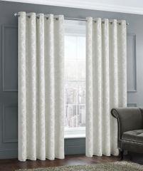 stunning damask cream eyelet ready made curtains - size options
