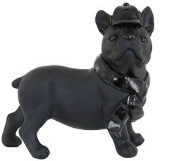 Black french bulldog with hat and scarf detail ornament