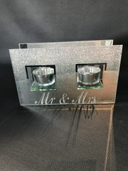 Mr & Mrs silver ombre glitter candle tealight holder - wedding gift