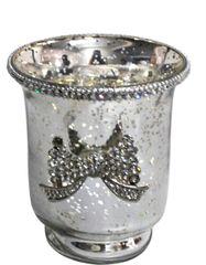 Sparkle antique silver collection - hurricane candle holder with sparkle bow detail