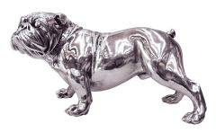 Electroplated silver Bull Dog statue
