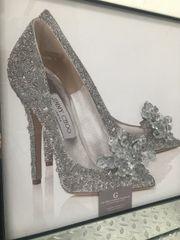Beautiful Cinderella Jimmy Choo glitter shoe picture in mirror frame