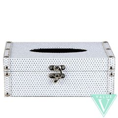 White with silver glitter collection tissue box holder