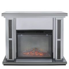 LIMITED STOCK-Beautiful Smoked mirror with black crystal crackle fire place - with electric fire