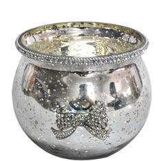 Sparkle antique silver collection - glass jar with sparkle bow detail