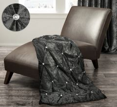 Beautiful Charcoal crushed velvet and crystal throw