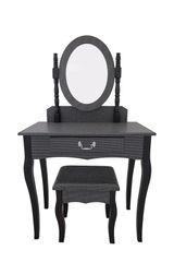 Black with silver glitter dressing table set - Dressing table -Mirror and stool