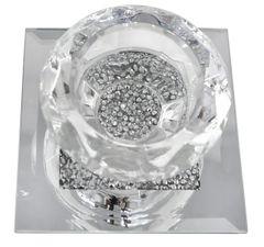 Beautiful crystal crackle & mirror single tea light holder