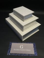 Beautiful White with disco glitter book storage boxes - set of 3