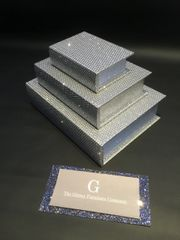 Beautiful set of 3 disco silver glitter storage book sets