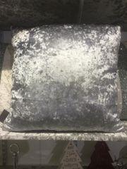 Gunmetal grey plain velvet scatter cushion