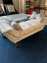 Beautiful silver crushed velvet chaise with cushion option