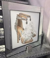 Stunning Jimmy Choo double shoe with glitter& feather detail mirror picture