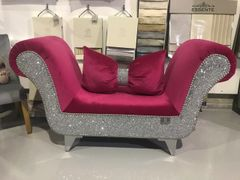 Ready made hot pink Cadillac soft touch with silver glitter mini chaise