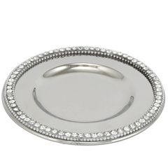 Beautiful Nickel & Crystal Coaster Plate 13.5cm