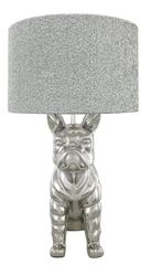 Large Beautiful French Bulldog large lamp with 16 inch silver glitter shade