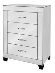 Ultra modern mirror 4 drawer cabinet with crystal gemstone handle detail