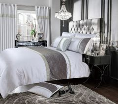 Beautiful Silver & white Chanelle Bedding set - size options