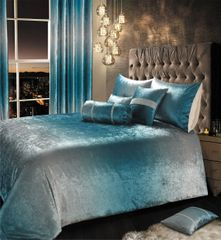 Beautiful Teal crushed velvet Ombre bedding set - size options