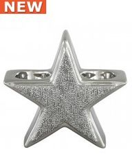 Beautiful Silver star double tea light holder - size Options