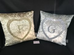 Beautiful alphabet heart glitter & crushed velvet scatter cushions - colour options